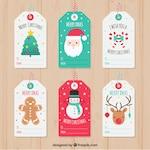 Set of pretty christmas tags