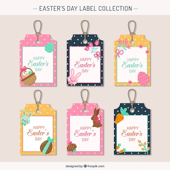 Set of pretty easter tags