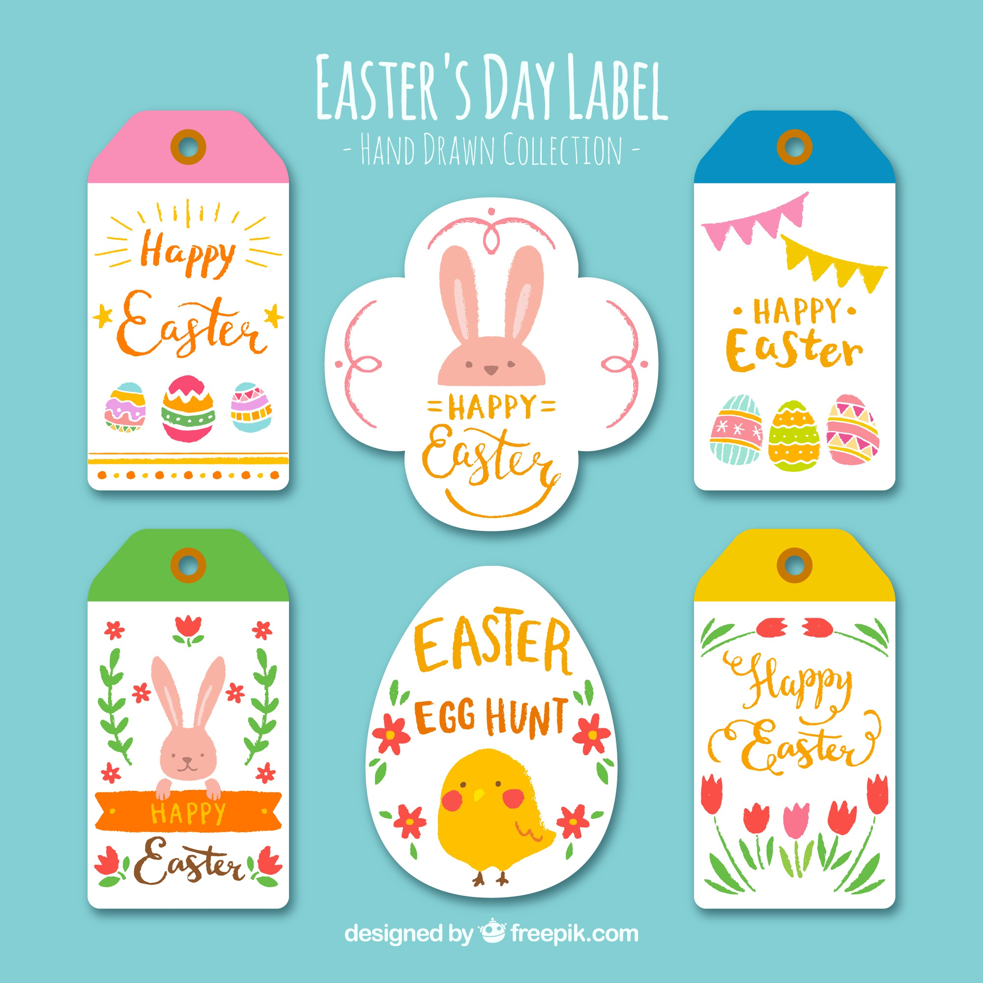 Set of pretty hand painted easter stickers