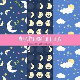 Set of pretty moon patterns