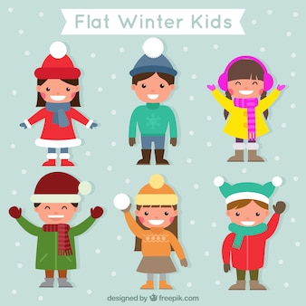 Set of pretty nice children wearing winter clothes in flat design