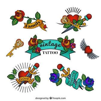 Set of pure vintage style tattoos