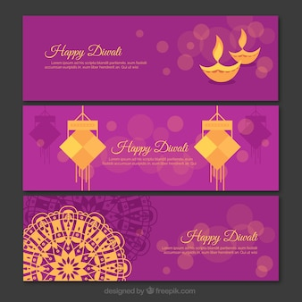 Set of purple and gold diwali banners