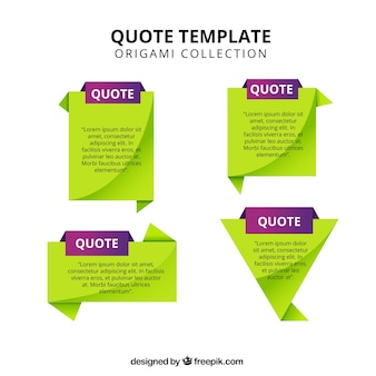 Set of quote templates in green and purple