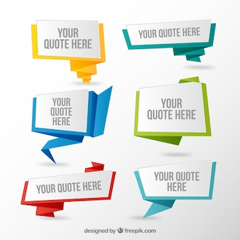 Set of quotes in origami style