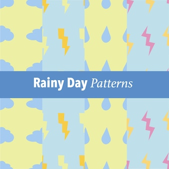 Set of rainy day pattern background