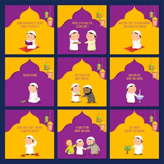 Set of ramadan greeting cards