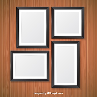 Set of realistic photo frames in black