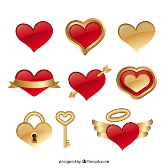 Set of red and golden hearts