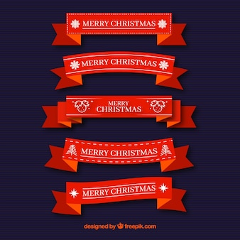 Set of red christmas ribbons in flat design