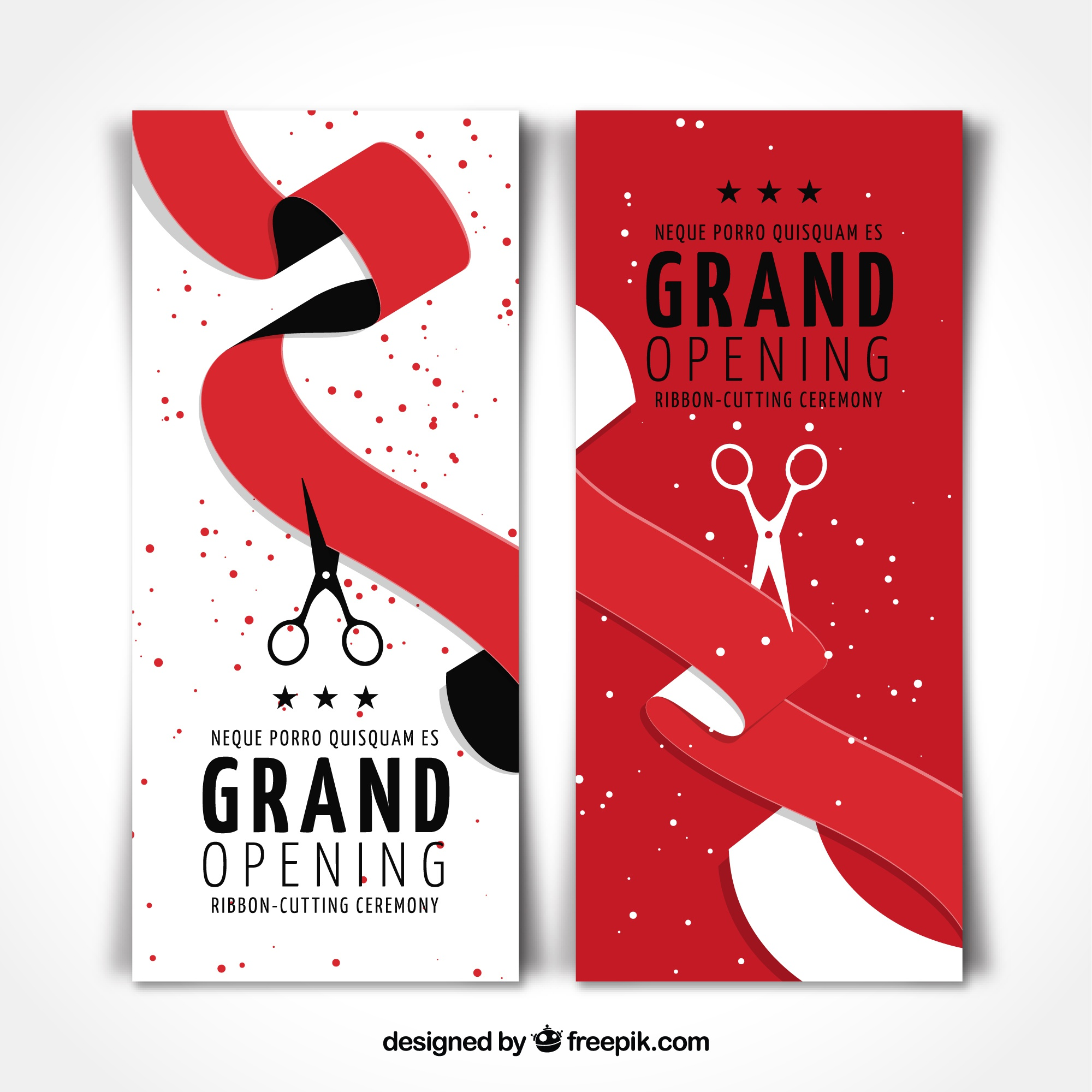 Set of red ribbon opening banners