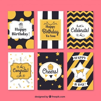 Set of retro abstract birthday cards