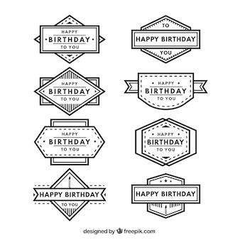Set of retro birthday badges
