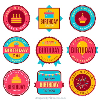 Set of retro birthday party stickers in flat design