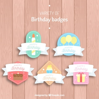 Set of retro birthday stickers