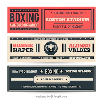 Set of retro boxing banners