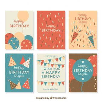 Set of retro cards with birthday elements
