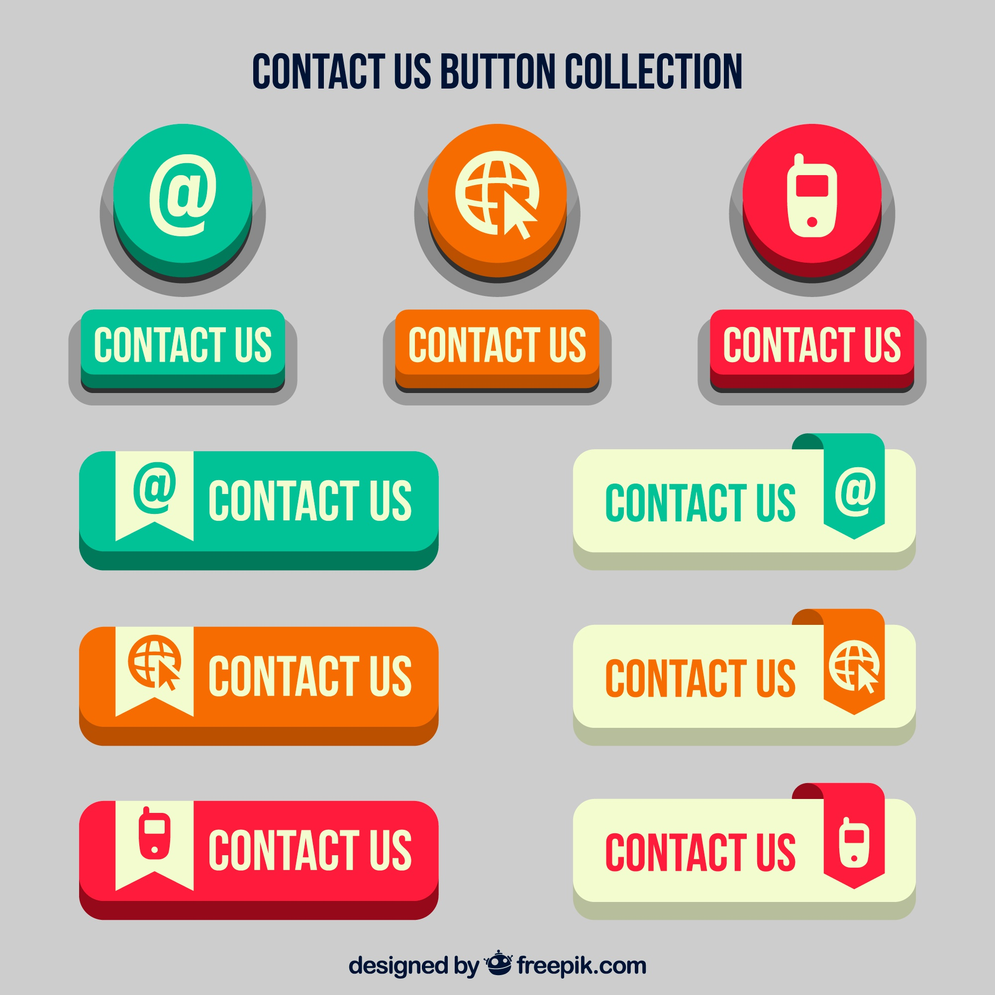 Set of retro contact web buttons