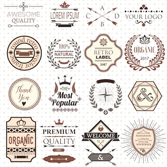 Set of retro design labels and elements