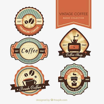 Set of retro stickers for cafeteria