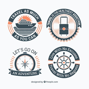 Set of retro travel stickers with messages