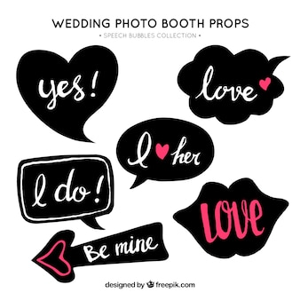 Set of retro wedding dialog balloons
