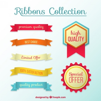Set of ribbons and high quality badges
