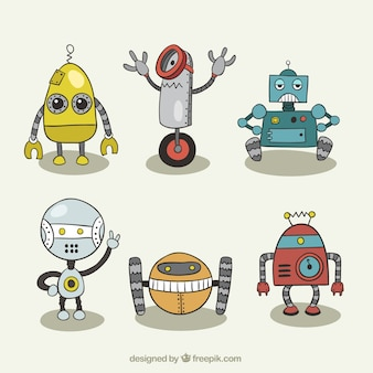 Set of robot drawings