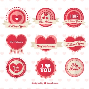 Set of round badges with hearts