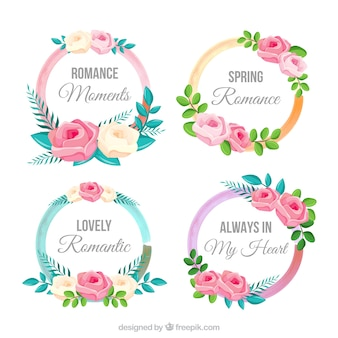Set of round decorative floral labels