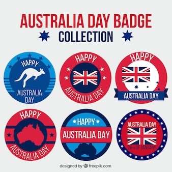 Set of round flat badges for australia day