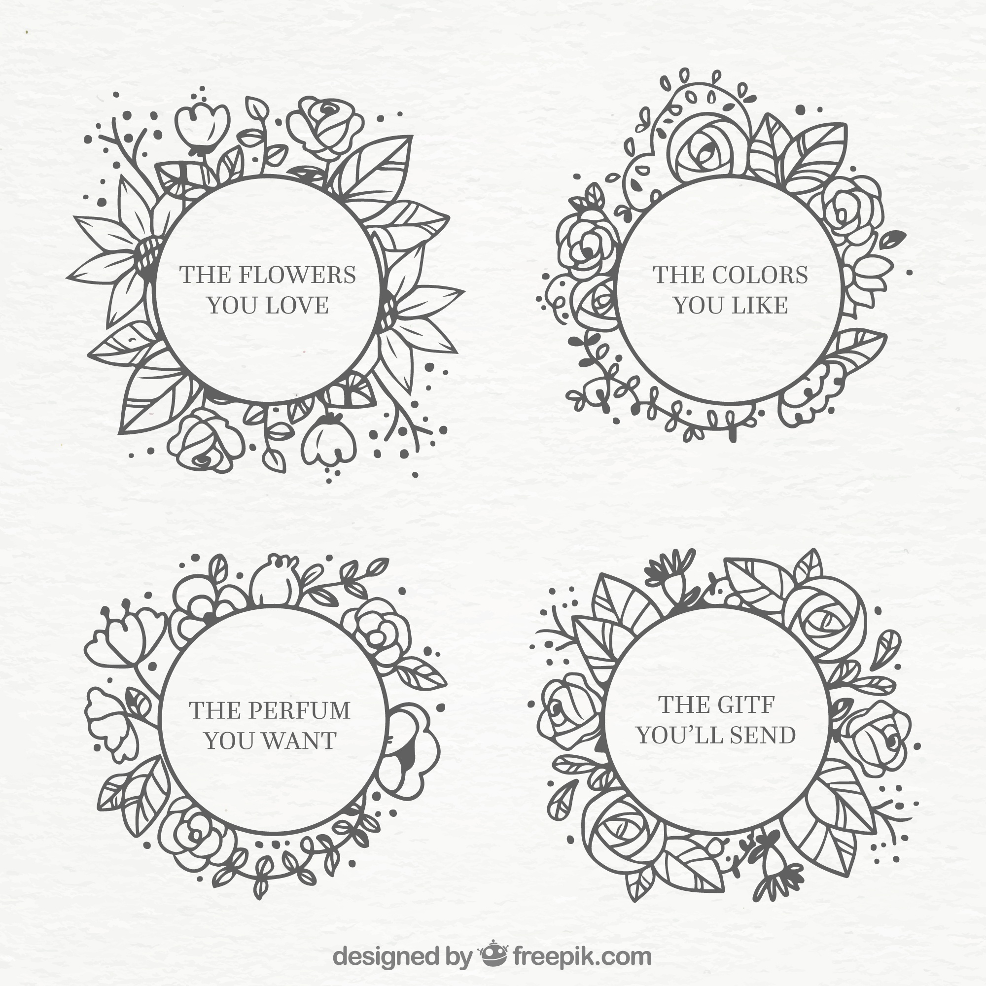 Set of round floral labels in hand-drawn style