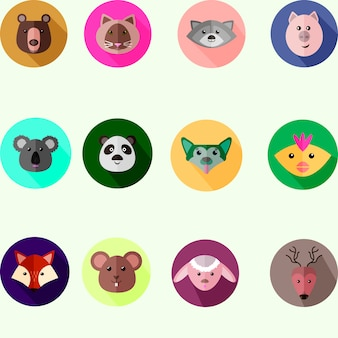 Set of round icons with different wild and domestic animals, flat style vector illustration