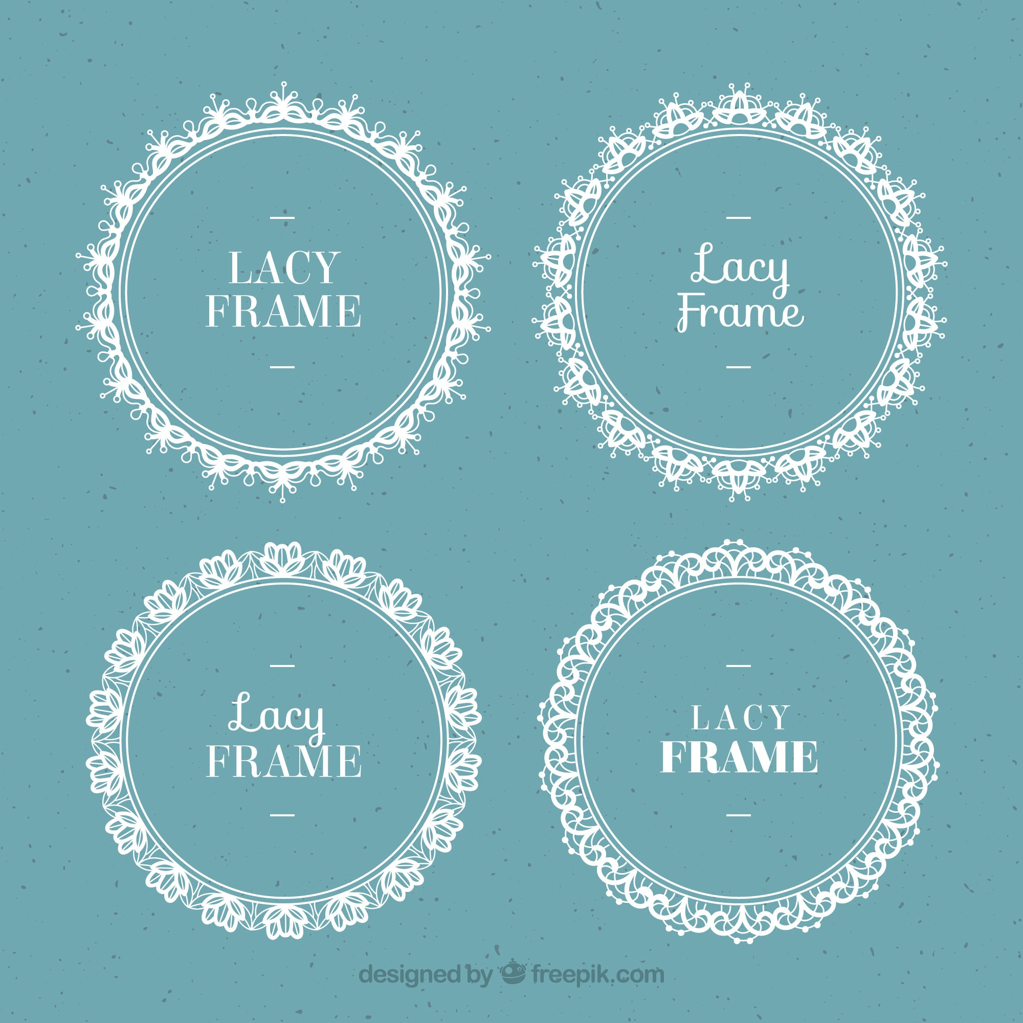 Set of round lace frames