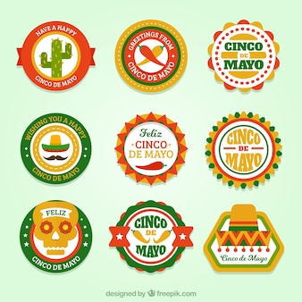 Set of rounded cinco de mayo stickers