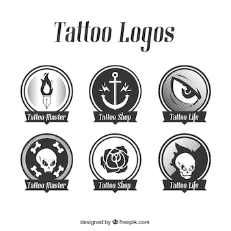 Set of rounded logos tattoo