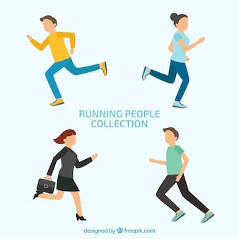 Set of running people in flat design