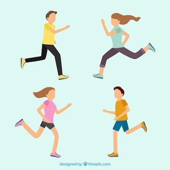 Set of running people