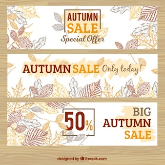 Set of sale autumn banners with drawings