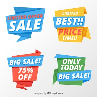 Set of sale origami banners