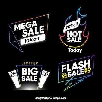 Set of sale stickers