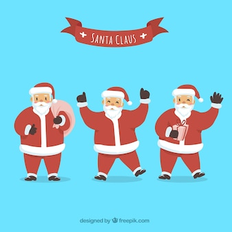 Set of santa claus with different poses