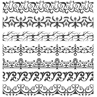 Set of seamless ornate brushes