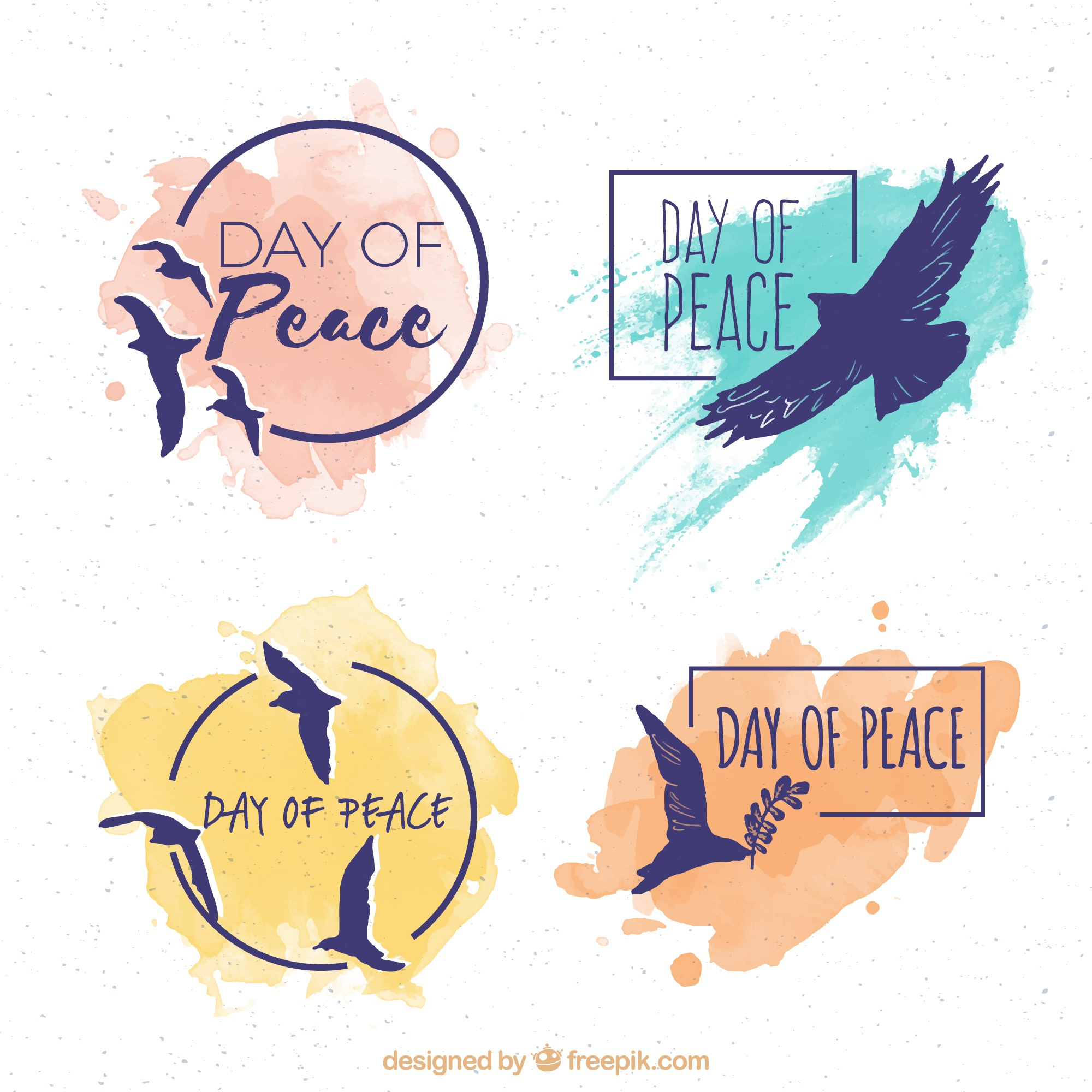 Set of silhouettes stickers of doves with watercolor stains