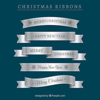 Set of silver christmas ribbons