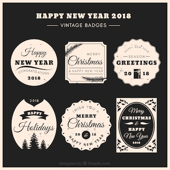 Set of six 2018 new year stickers in retro style
