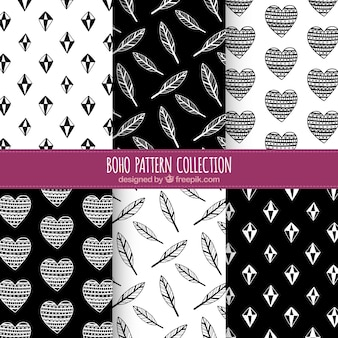 Set of six black and white boho patterns