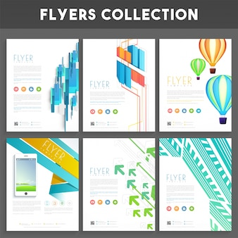 Set of six creative business flyers or template design