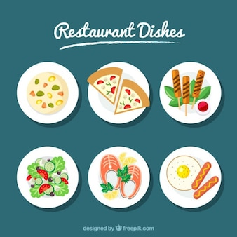 Set of six dishes restaurant