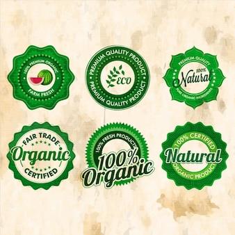 Set of six ecological badges